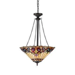 Chloe Tiffany Style Victorian Design 2-light Inverted Pendant