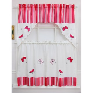 Candy Stripe Butterfly Tiered Curtain Set