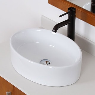 Elite High Temperature Grade A Ceramic Oval Design Bathroom Sink and Oil Rubbed Bronze Faucet Combo