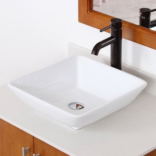 Elite High Temperature Grade A Ceramic Square Design Bathroom Sink and Oil Rubbed Bronze Faucet Combo