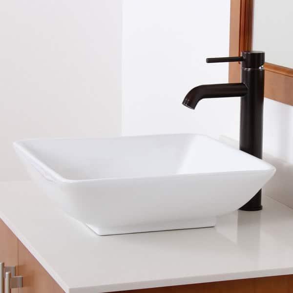 Elite High Temperature Grade A Ceramic Square Design Bathroom Sink And Oil Rubbed Bronze Faucet Combo On Sale Overstock 8387355