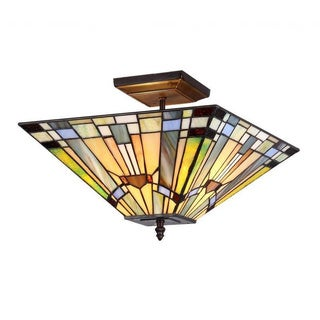 Tiffany style Mission design 2 Light Flush Mount - Multi-color