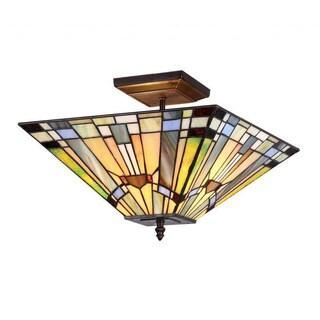 Tiffany style Mission design 2 Light Flush Mount - Multi-color