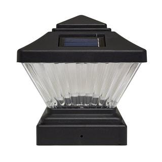 Matte Black Square Post Cap PVC Fence Solar Light Set of 4