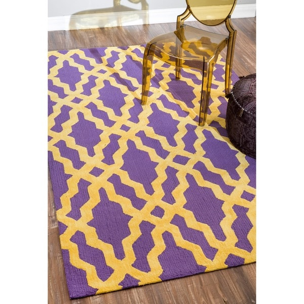 "nuLOOM Hand-hooked Purple/ Gold Wool-blend Area Rug (7'6 x 9'6) - 7'6"" x 9'6"""