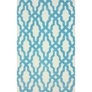 nuLOOM Hand-hooked Aqua/ Off-white Wool-blend Rug (7'6 x 9'6)