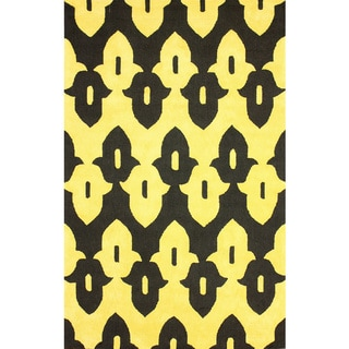 nuLOOM Hand-hooked Black/ Gold Wool-blend Rug (7'6 x 9'6)