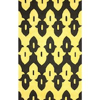 "nuLOOM Hand-hooked Black/ Gold Wool-blend Rug (7'6 x 9'6) - 7'6"" x 9'6"""