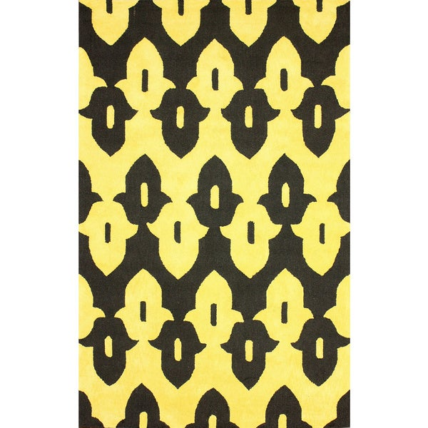 nuLOOM Hand-hooked Black/ Gold Wool-blend Rug - 7'6 x 9'6