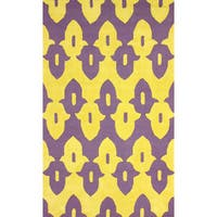 "nuLoom Hand-hooked Purple/ Gold Wool-blend Rug (7'6 x 9'6) - 7'6"" x 9'6"""