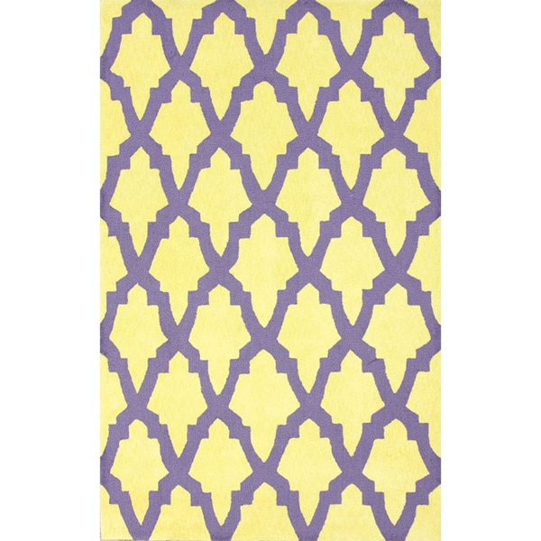 nuLoom Hand-hooked Purple/ Yellow Wool-blend Rug - 8'3 x 11'