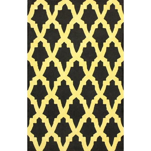 nuLOOM Hand-hooked Black Wool Rug (8'3 x 11') - 8'3 x 11'