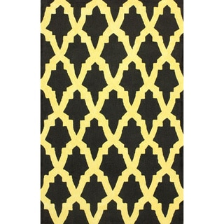 nuLOOM Hand-hooked Black/ Yellow Wool-blend Rug (7'6 x 9'6)