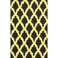 "nuLOOM Hand-hooked Black/ Yellow Wool-blend Rug (7'6 x 9'6) - 7'6"" x 9'6"""