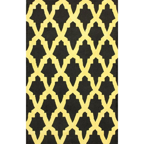 nuLOOM Hand-hooked Black/ Yellow Wool-blend Rug (7'6 x 9'6) - 7'6 x 9'6