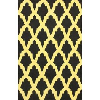 nuLOOM Hand-hooked Black/ Gold Wool-blend Rug (6' x 9')