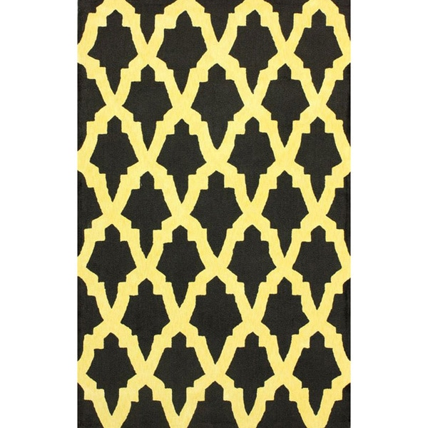 nuLOOM Hand-hooked Black/ Gold Wool-blend Rug (6' x 9') - 6' x 9'