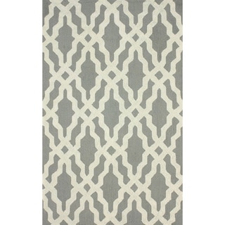 nuLOOM Hand-hooked Grey/ Off-white Wool-blend Rug (5' x 8')