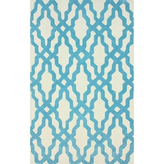 nuLOOM Hand-hooked Aqua/ Off-white Wool-blend Rug (5' x 8')