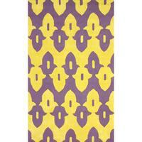 nuLoom Hand-Hooked Purple Wool Rug (5' x 8') - 5' x 8'