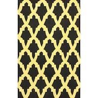 nuLOOM Hand-hooked Black Wool Rug (5' x 8') - 5' x 8'