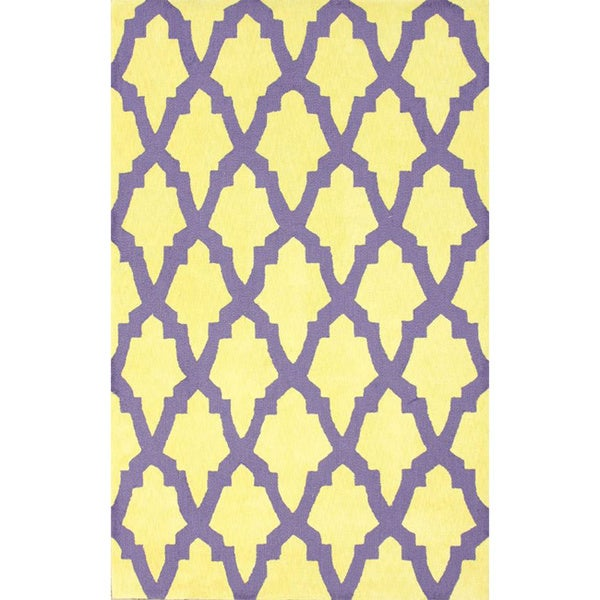 nuLoom Hand-hooked Purple/ Yellow Wool-blend Rug - 5' x 8'