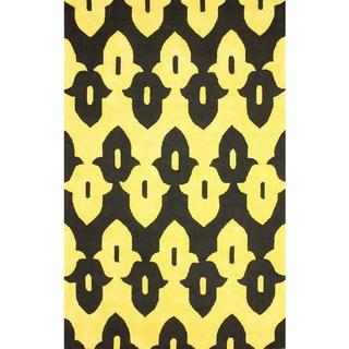 nuLOOM Hand-hooked Black Wool Area Rug (3'6 x 5'6)