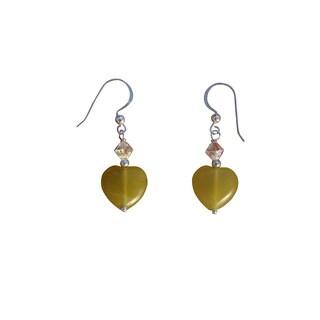 Beadwork by Julie Olive Jade and Crystal Earrings
