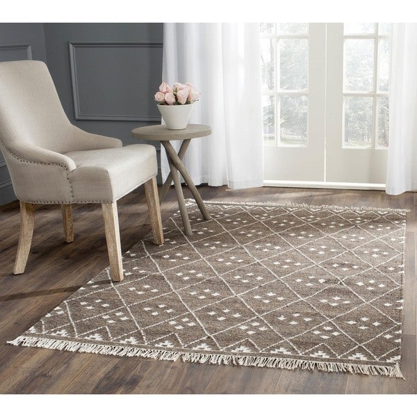 safavieh rugs 8x10. Safavieh Hand-woven Natural Kilim Brown/ Ivory Wool Rug - 8\u0026#x27; Rugs 8x10 H