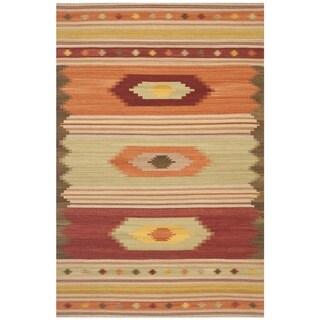 Safavieh Hand-woven Kilim Brown Wool Rug (5' x 8')