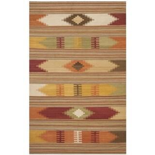 Safavieh Hand-woven Kilim Red Wool Rug (5' x 8')