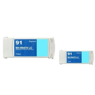 Insten Light cyan Remanufactured Ink Cartridge Replacement for HP C9470A/ 91