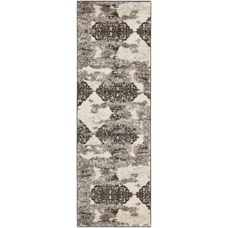 Safavieh Retro Modern Abstract Cream/ Brown Distressed Rug (2'3 x 9')