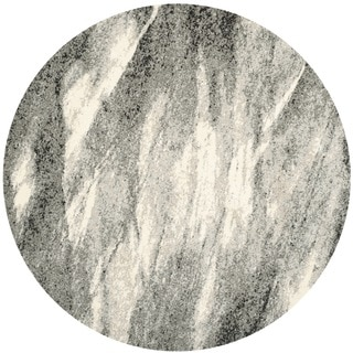 Safavieh Retro Mid-Century Modern Abstract Grey/ Ivory Rug (8' Round)