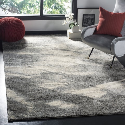 Mid-Century Modern Abstract Grey/ Ivory Rug - 8' Square - 8' x 8' Square