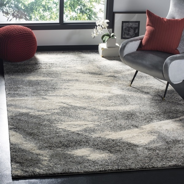 Carson Carrington Hamar Mid-Century Modern Abstract Grey/ Ivory Rug - 8' Square