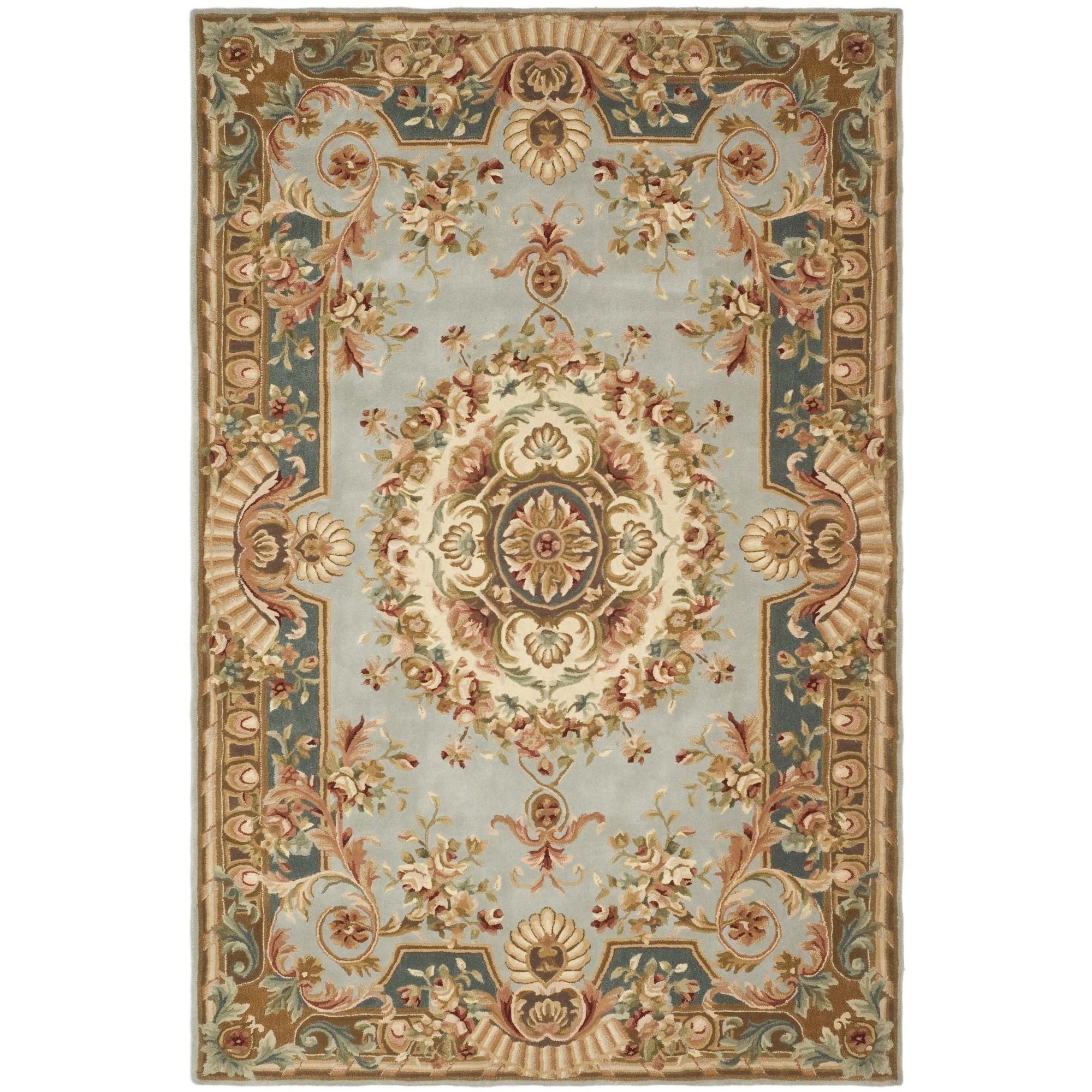 Safavieh Handmade Savonnerie Blue/ Dark Blue Wool Rug (8'...