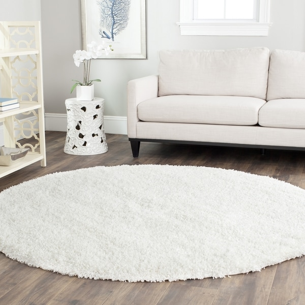 safavieh california cozy plush milky white shag rug (8'6 round