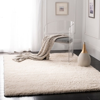 Safavieh California Cozy Solid Ivory Shag Rug (4' Square)