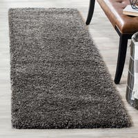 "Safavieh California Cozy Plush Dark Grey/ Charcoal Shag Rug - 2'3"" x 13'  Runner"