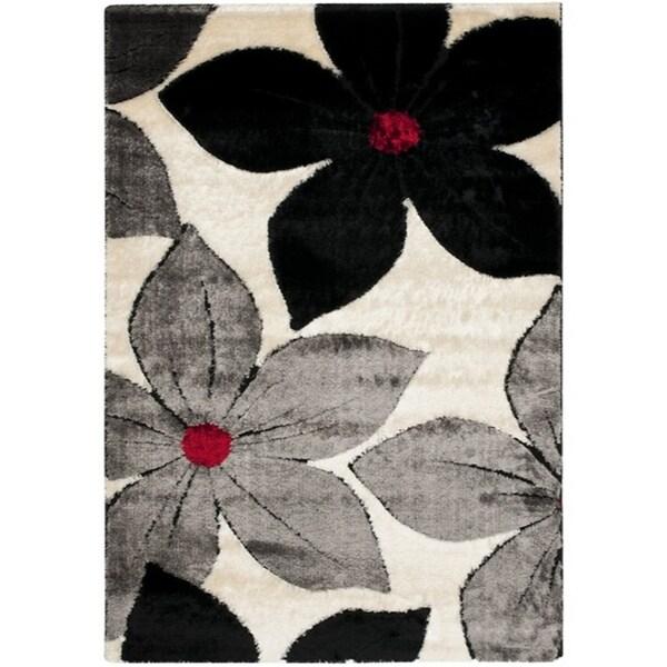 Safavieh Miami Shag Contemporary Silken-Embossed Cream/ Grey Floral Shag Runner (8'6 x 12') - 8'6 x 12'