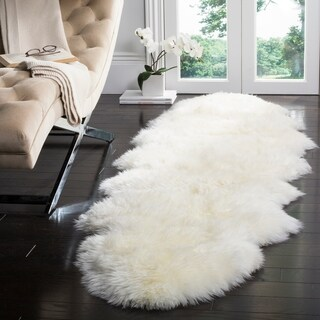 Safavieh Prairie Natural Pelt Sheepskin Wool White Shag Rug - 2' x 8'5""