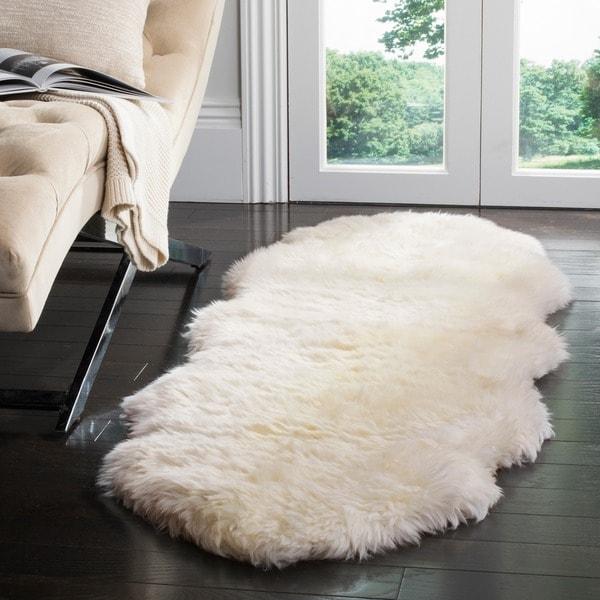 Safavieh Hand-woven Sheepskin Pelt White Shag Rug (2' x 6')