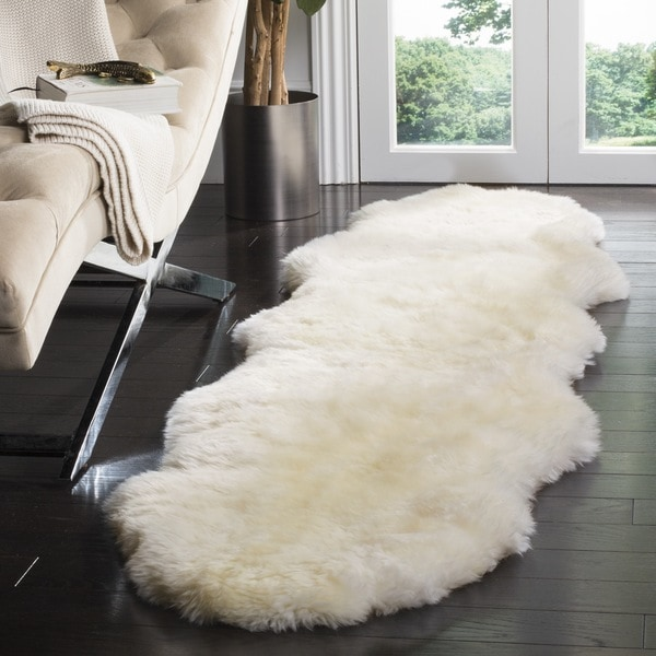 Safavieh Hand Woven Sheepskin Pelt White Shag Rug 2 X 8