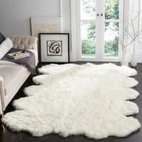 Safavieh Hand-woven Sheepskin Pelt White Shag Rug (6' Square)