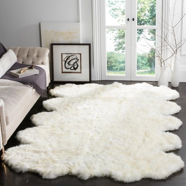 Safavieh Hand Woven Sheepskin Pelt White Shag Rug 8 X
