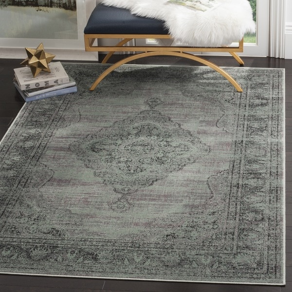 Safavieh Vintage Oriental Light Blue Distressed Silky Viscose Rug - 7'6 x 10'6