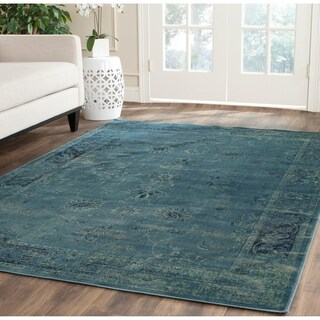 Safavieh Vintage Oriental Turquoise Distressed Silky Viscose Rug (5'3 x 7'6)
