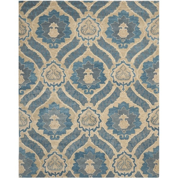 Safavieh Handmade Wyndham Blue/ Grey Wool Rug - 10' x 14'