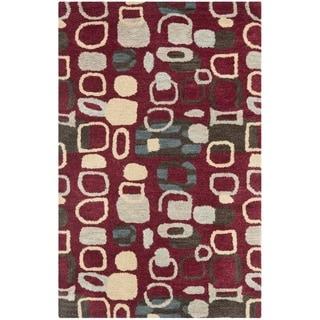 Safavieh Handmade Wyndham Modern Abstract Red Wool Rug (2' x 3')